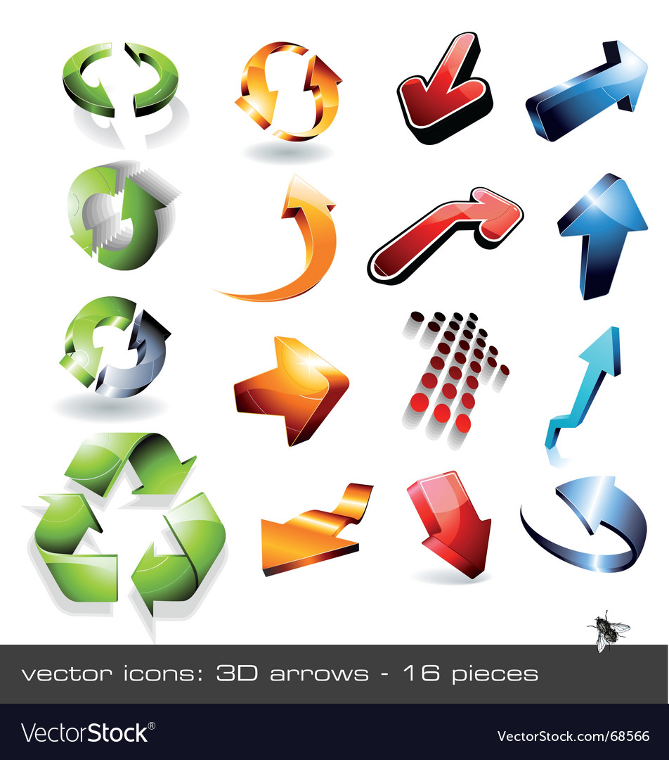 Icon set  3d arrows vector