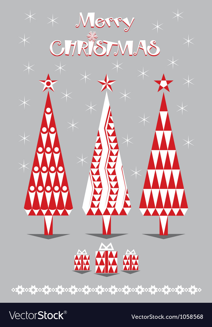 Merry christmas red and gray vector