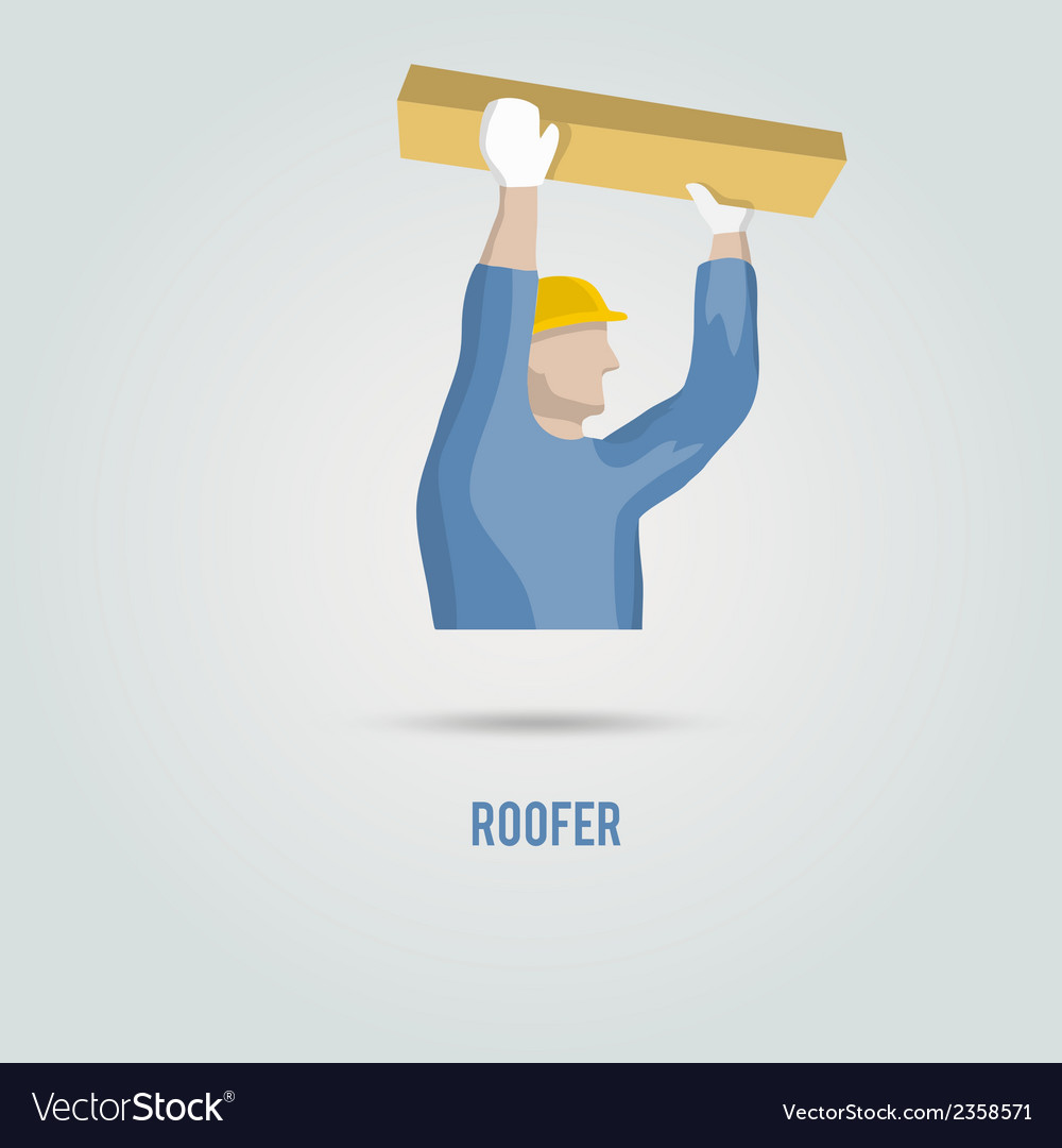 Roofer with wood icon vectorRoofer Vector