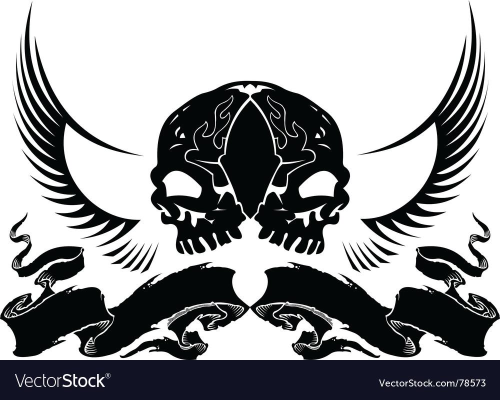 Wing skull heraldry vector