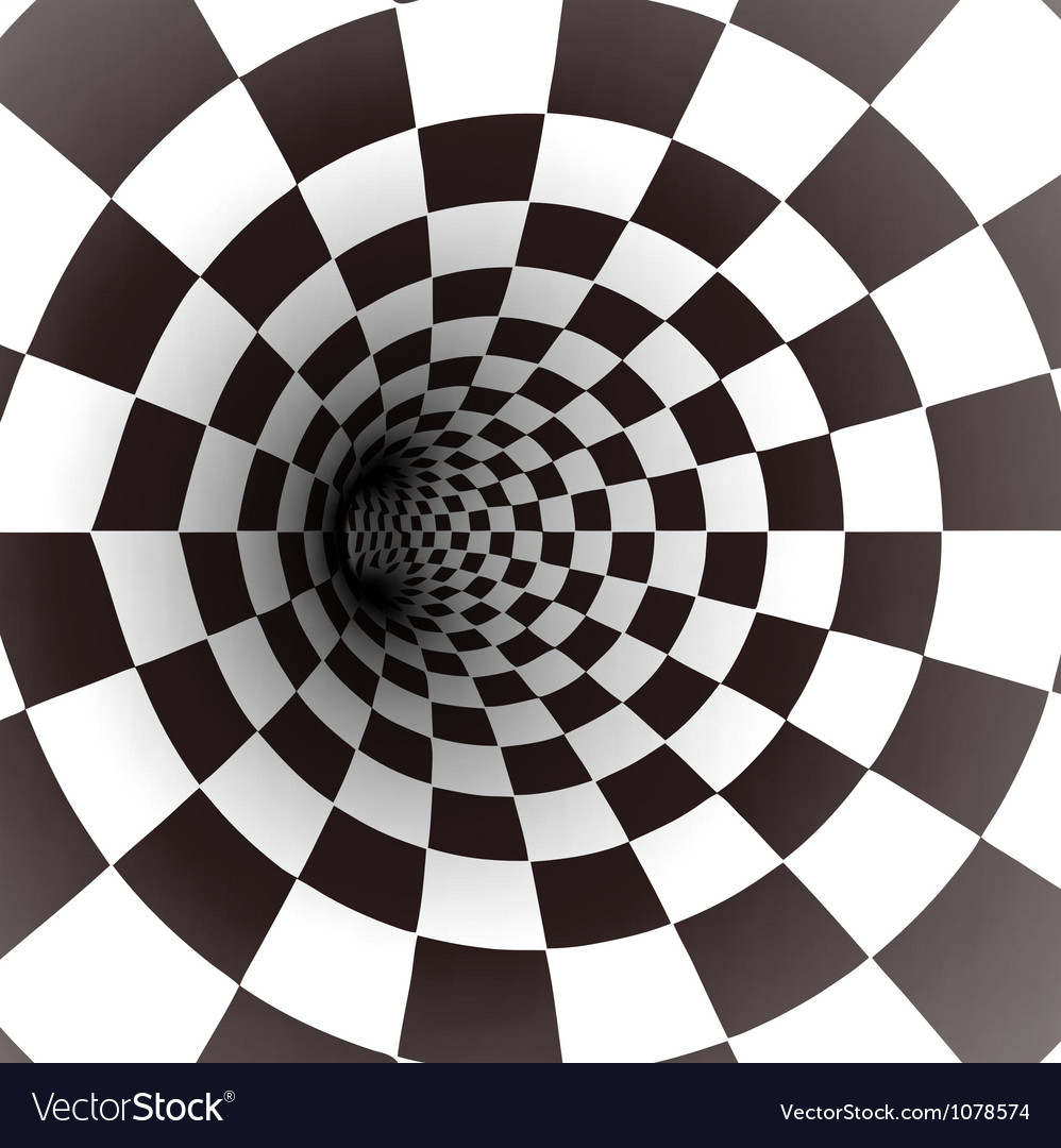 Black and white spiral tunnel vector
