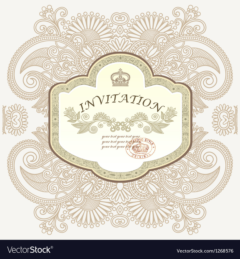 Hand draw ornamental floral vintage template vector