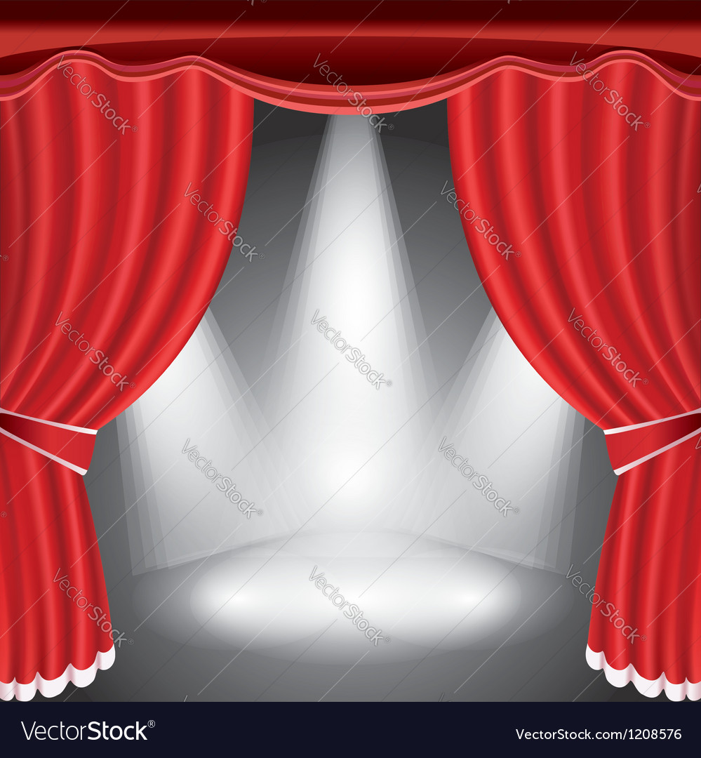Theater stage with open red curtain and spotlight vector