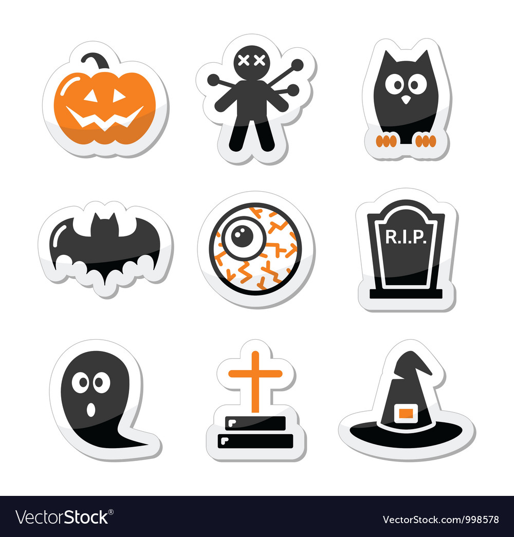 Halloween black icons set as labels vector
