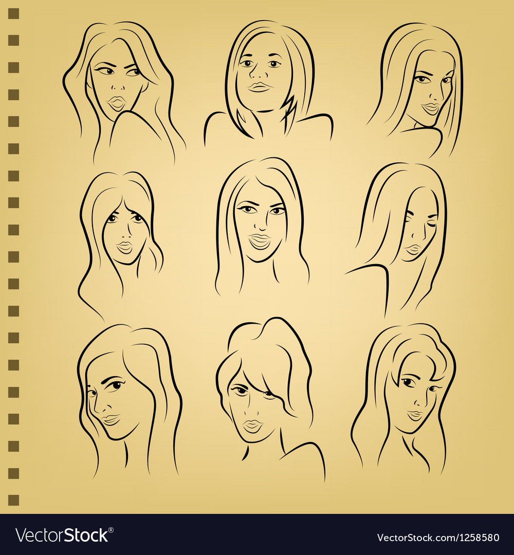 Woman face on paper vector
