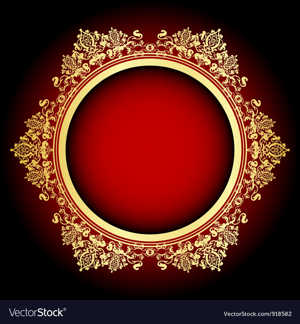 Red and gold frame vector