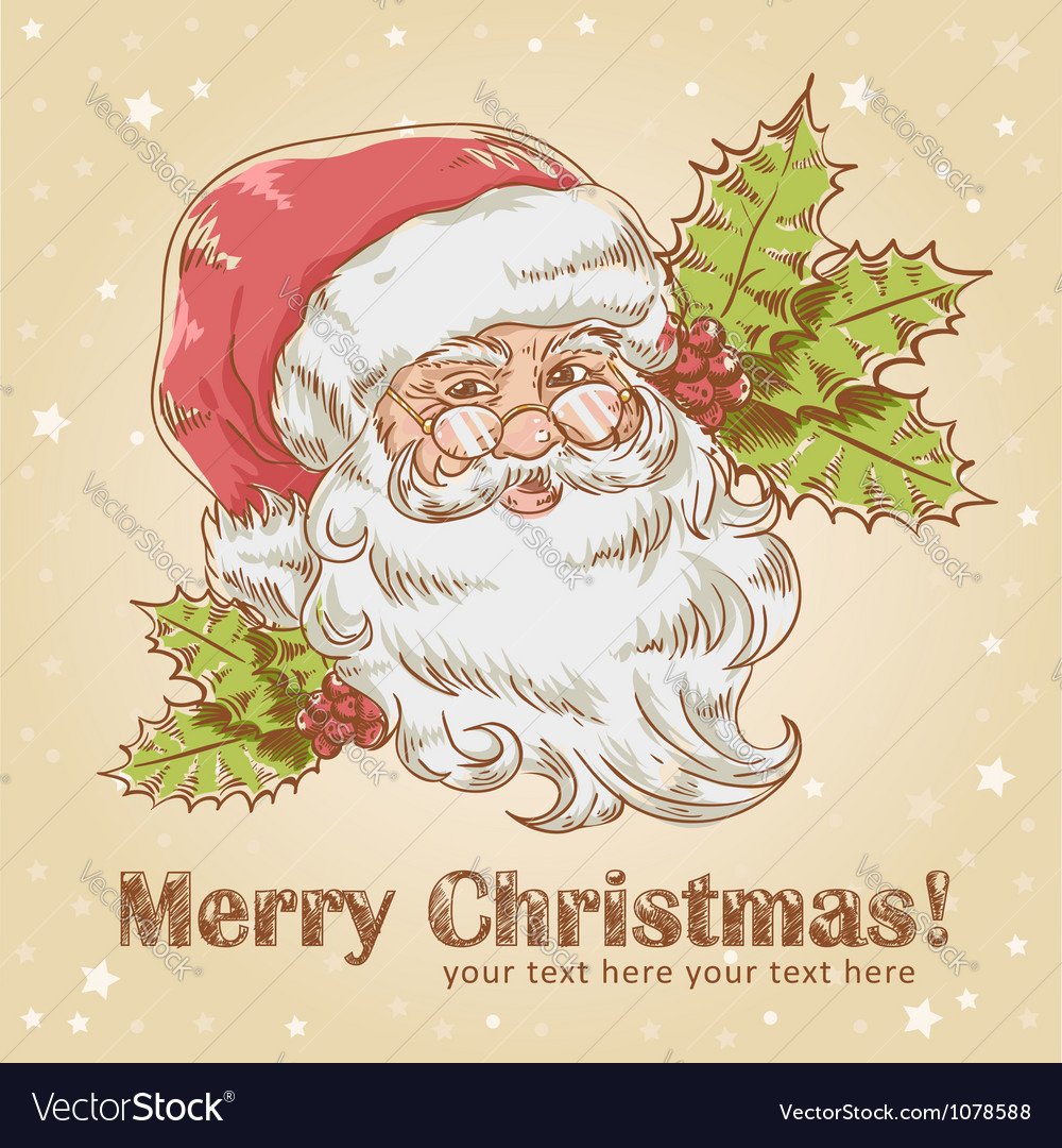 Christmas postcard with cute smiling santa claus vector