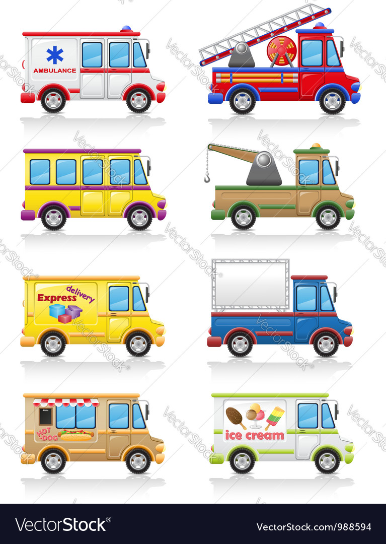 Car and truck icon set vector
