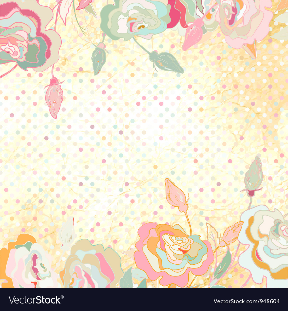 Vintage dots rose floral background vector