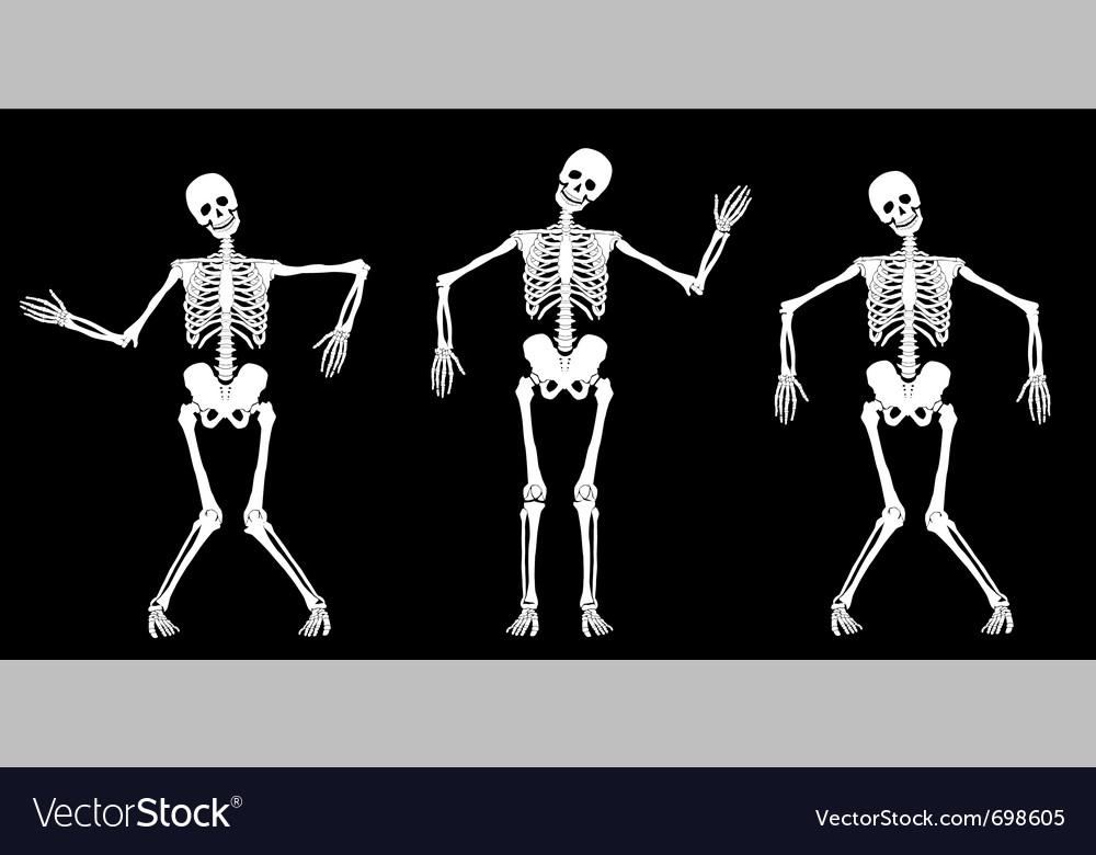 White dancing skeletons vector