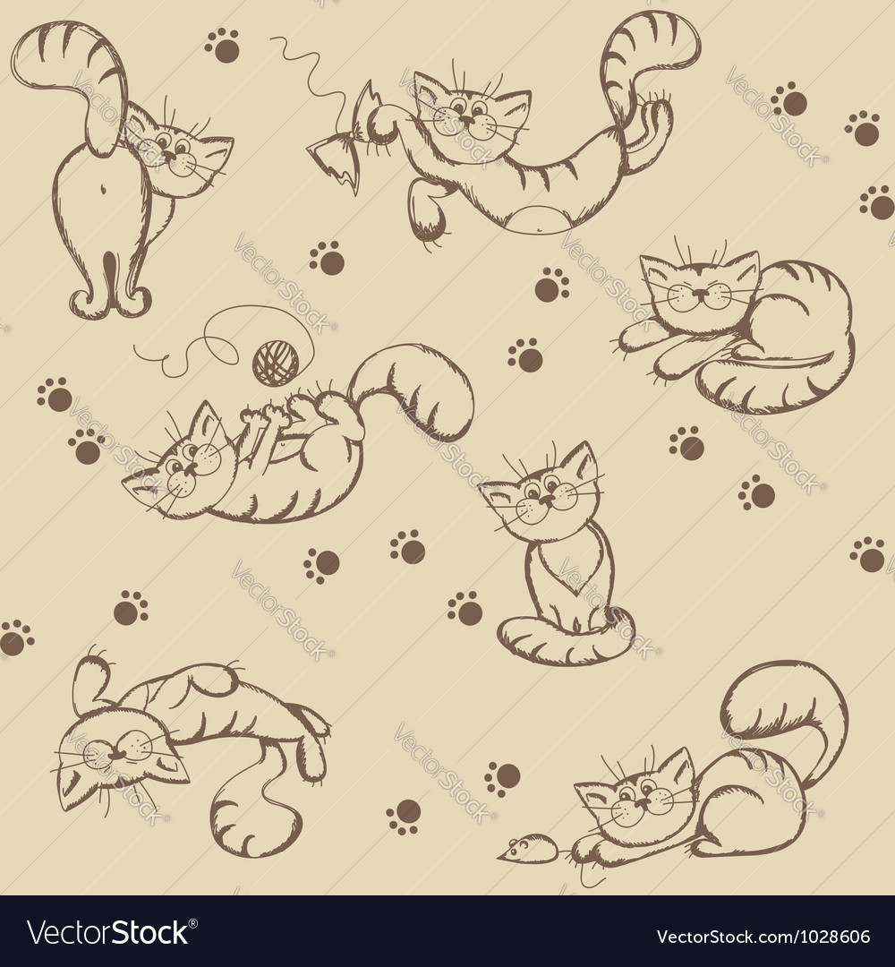 Seamless background with playful cats vector