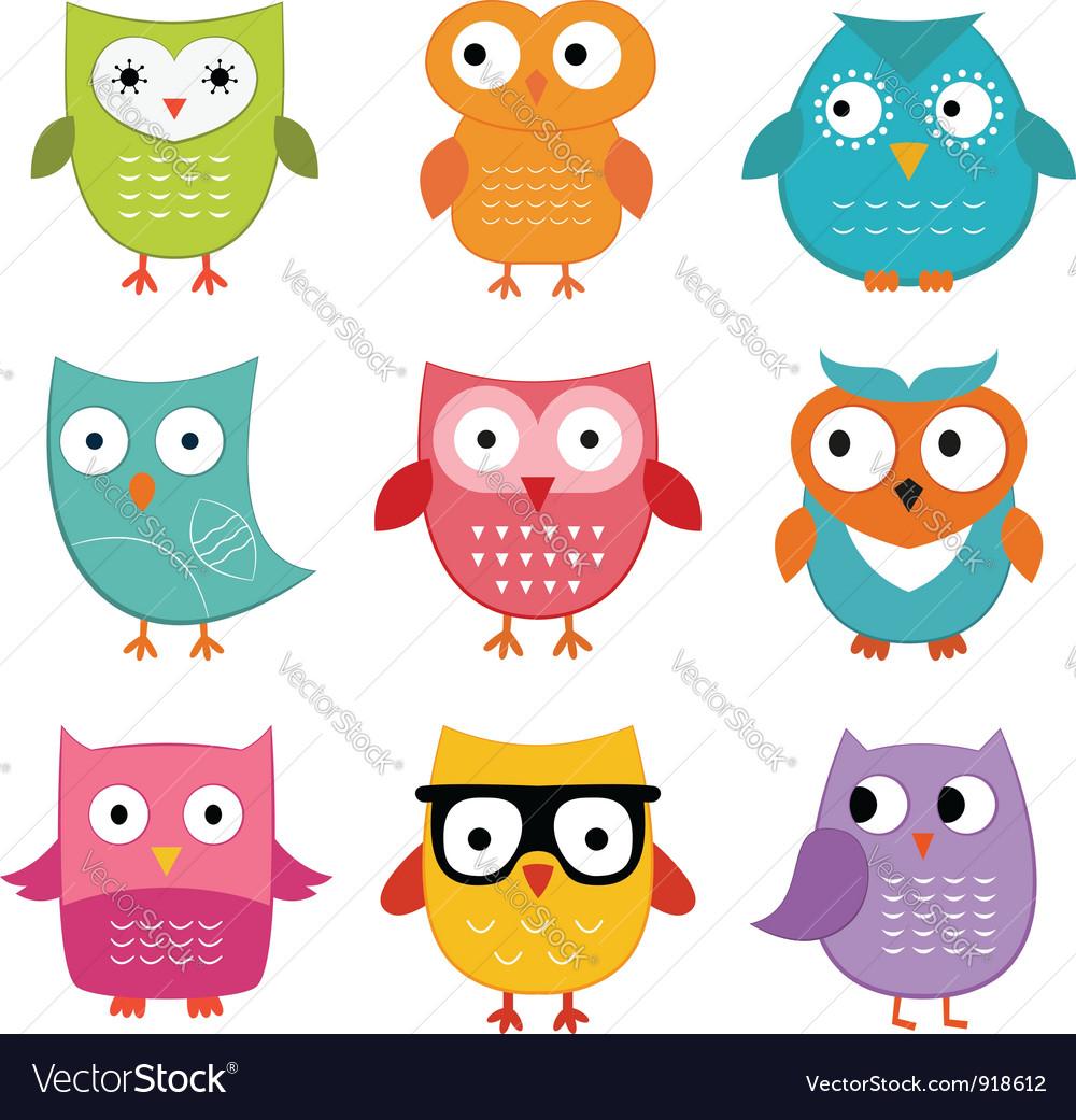 Owls set vector