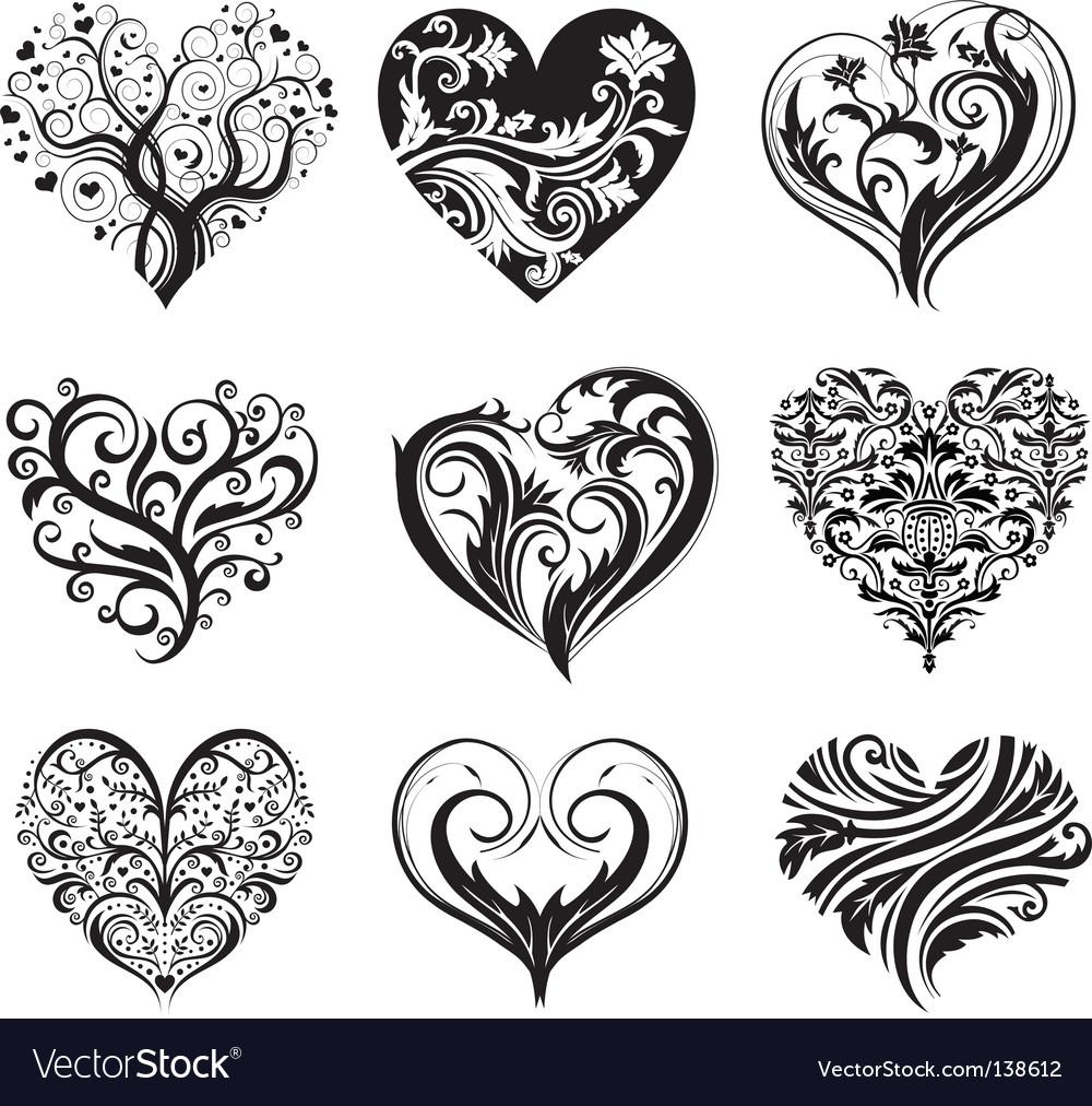 Set of 9 tattoo hearts vector