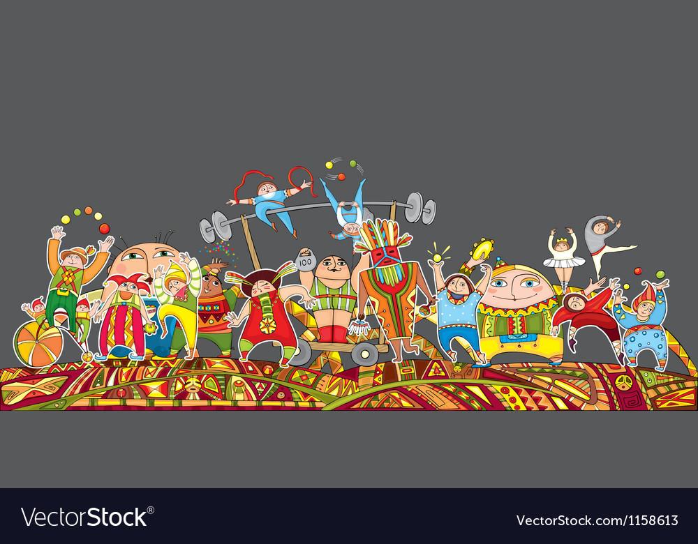Circus performance parade crowd vector