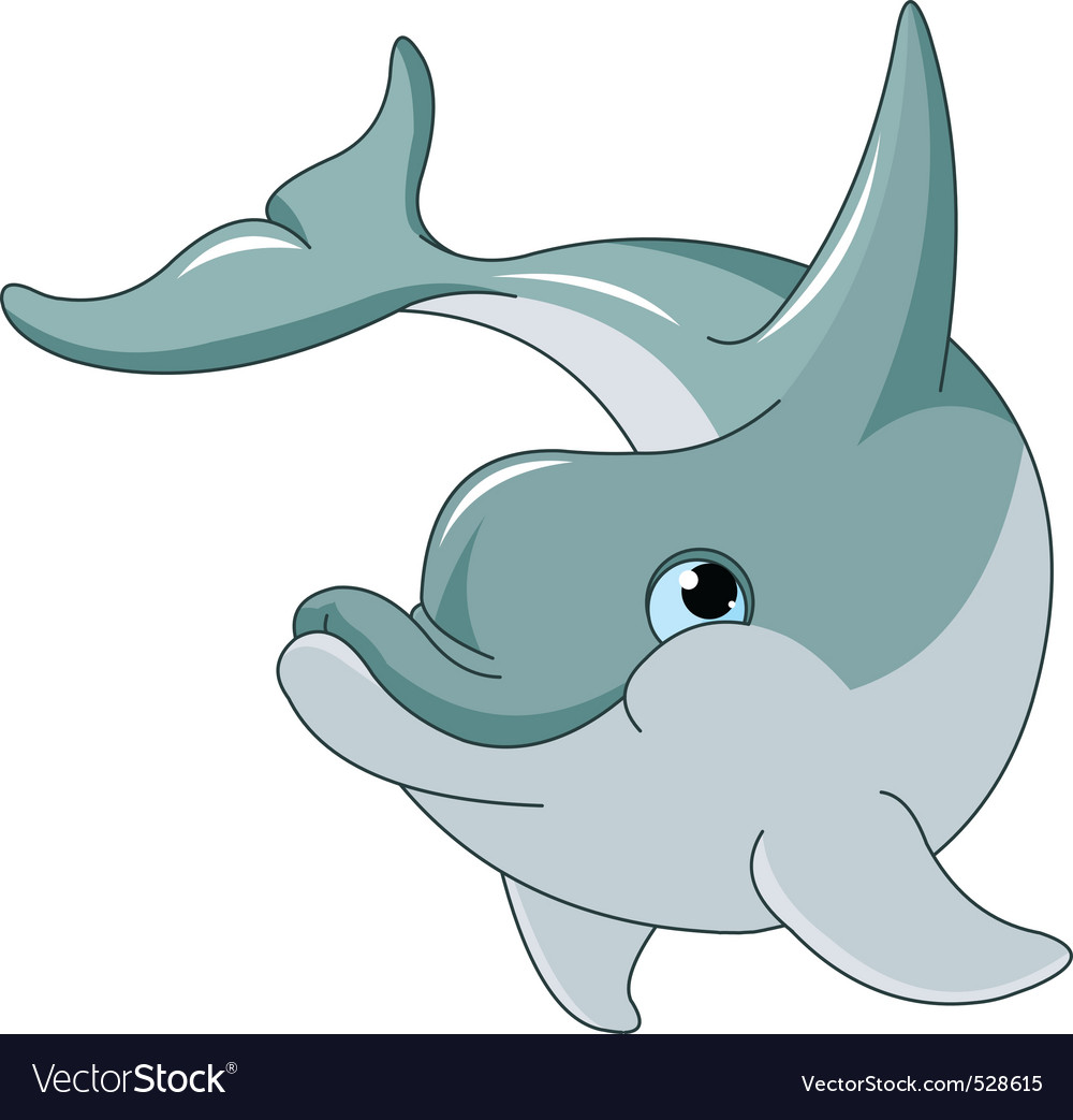 Swimming dolphin vector