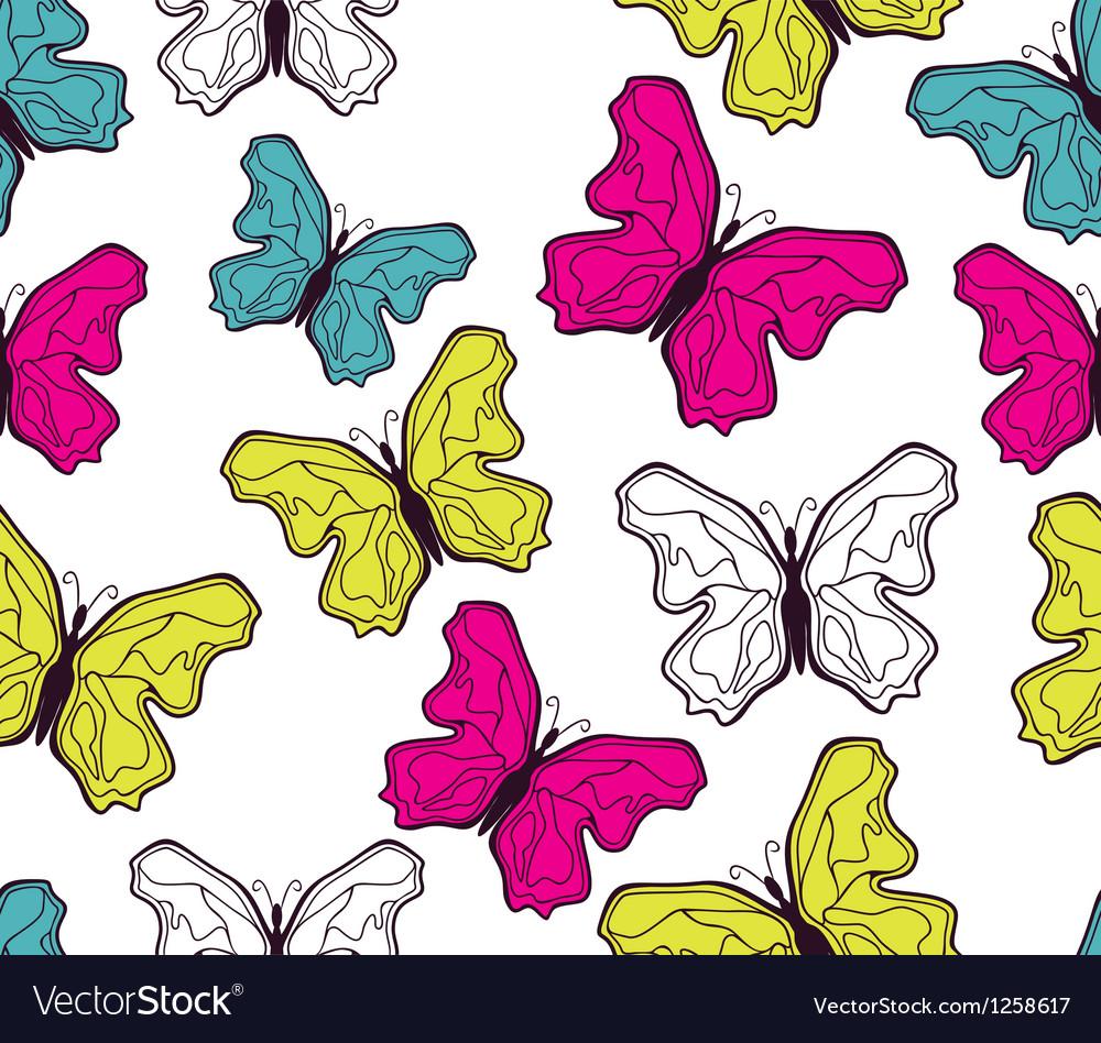 Seamless butterfly pattern vector