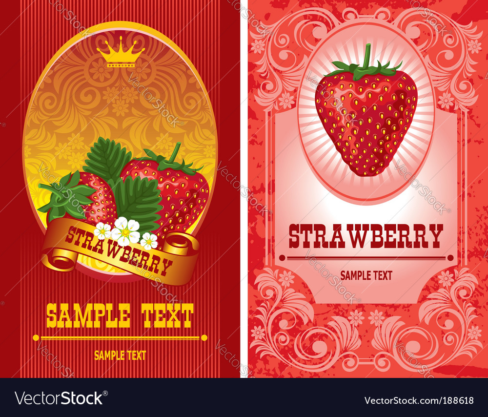 Strawberry label vector