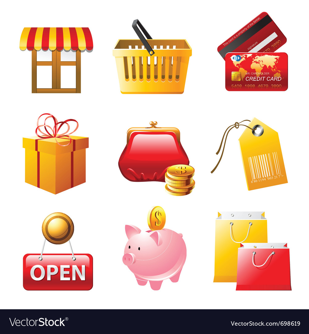 9 bright shopping icons set vector