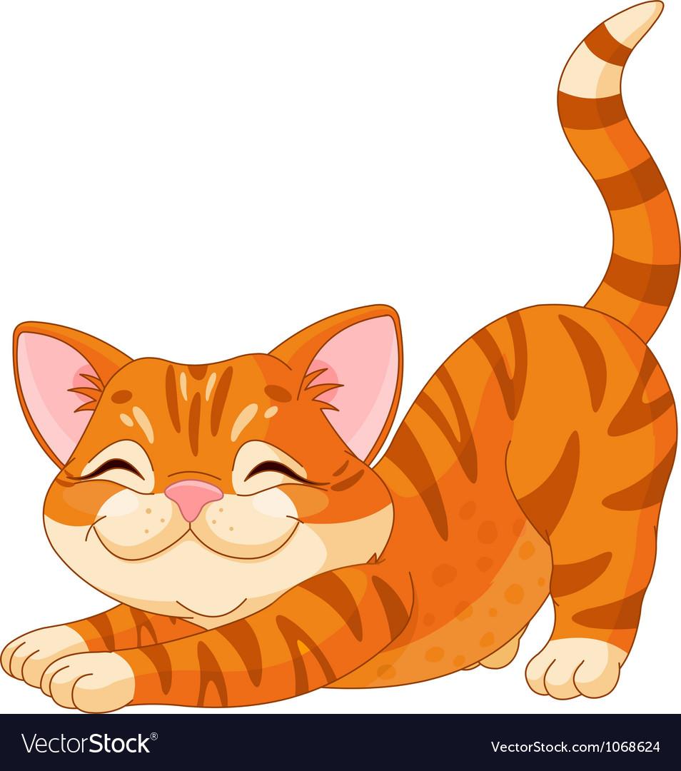 Cute kitten stretching vector