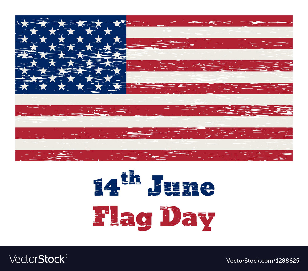 Usa flag vintage 14 june vector