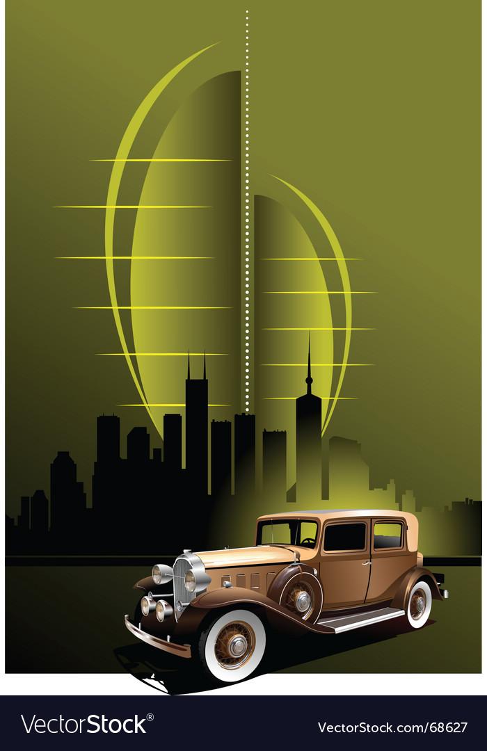 Retro car in futuristic town vector