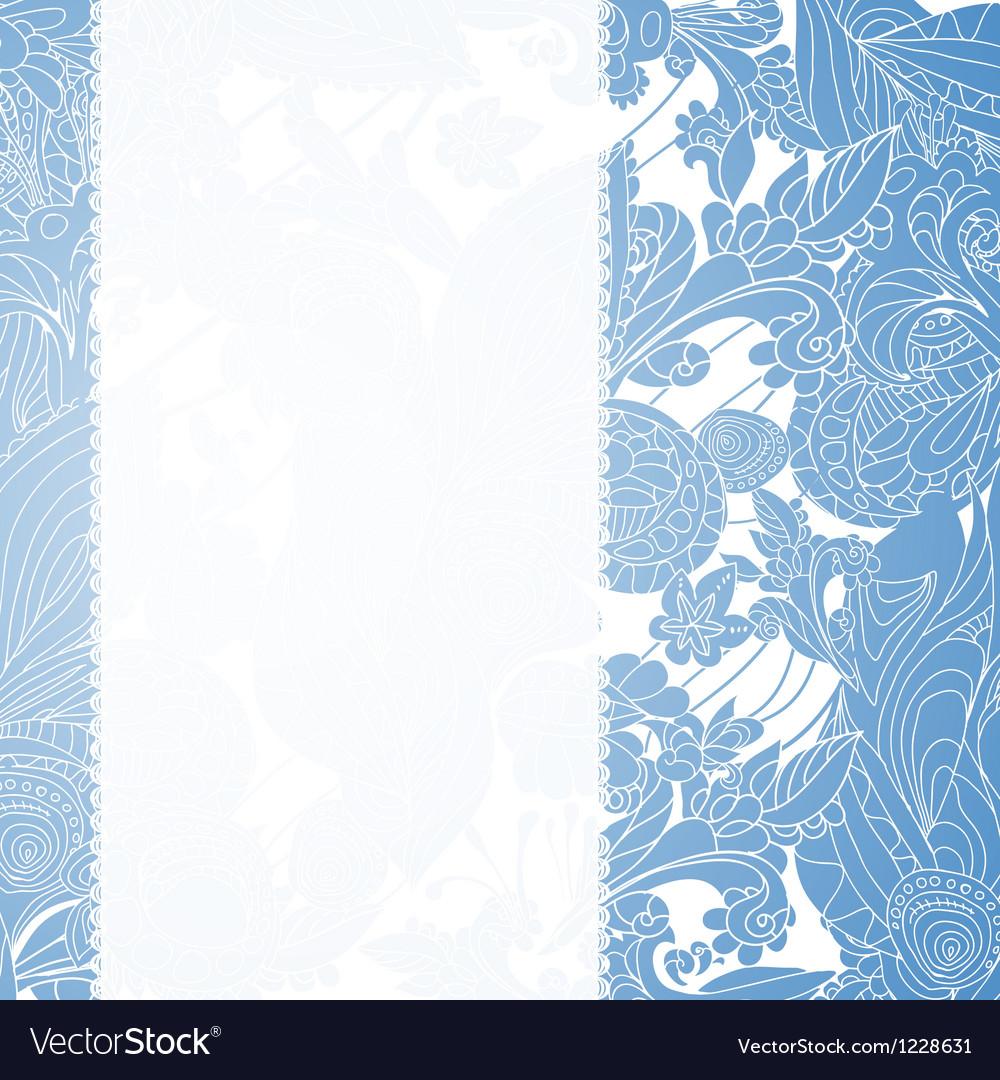 Vintage blue floral ornament background vector