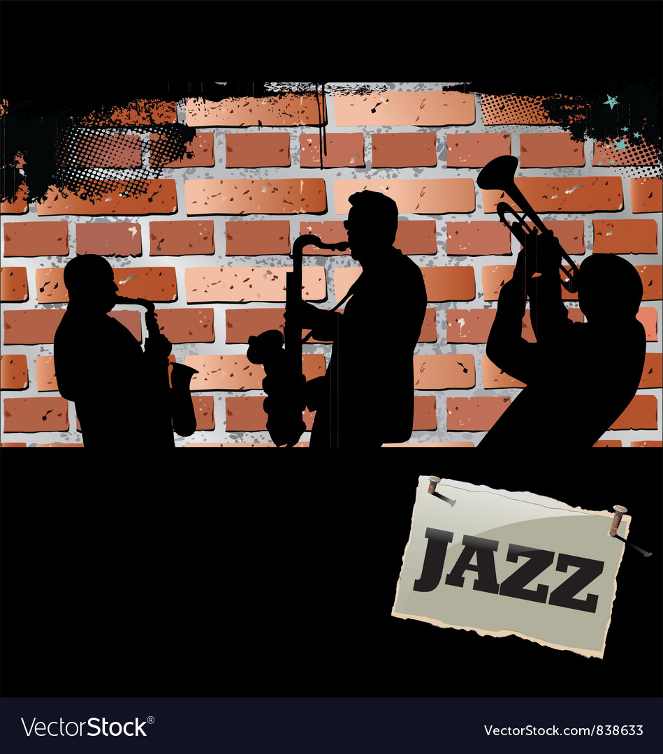 Jazz musicians - brick wall background vector