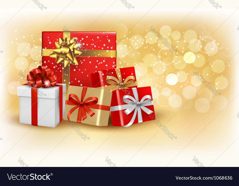 Christmas gold background with gift box and vector