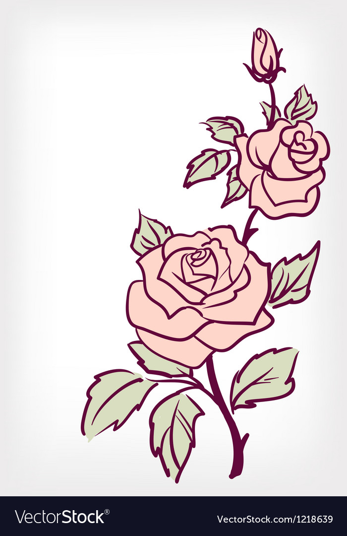 Pink rose flower vintage card vector