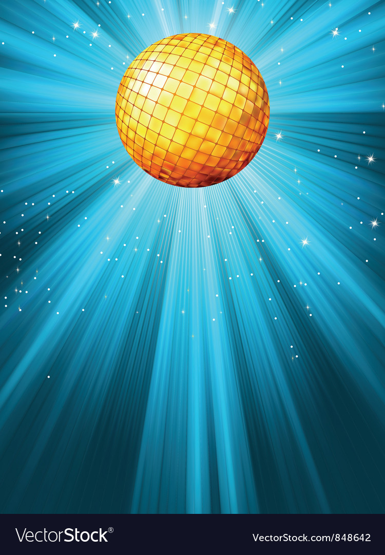 Sparkling blue disco ball vector