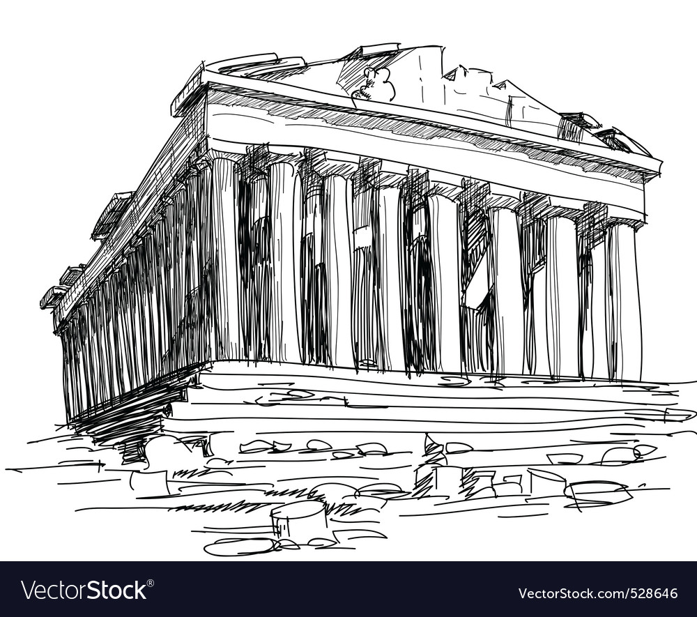 Greece parthenon sketch vector