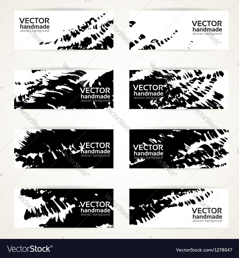 Abstract black hand drawn by brush banners vector