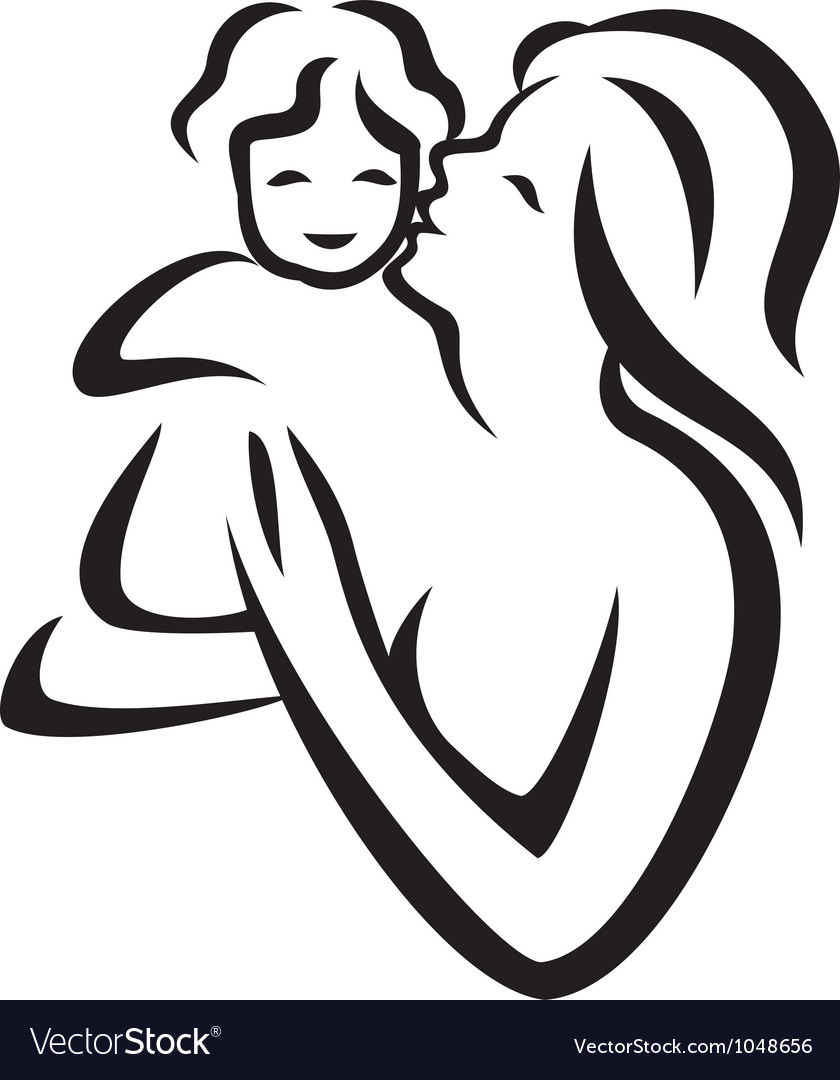 Mother and child sketch vector