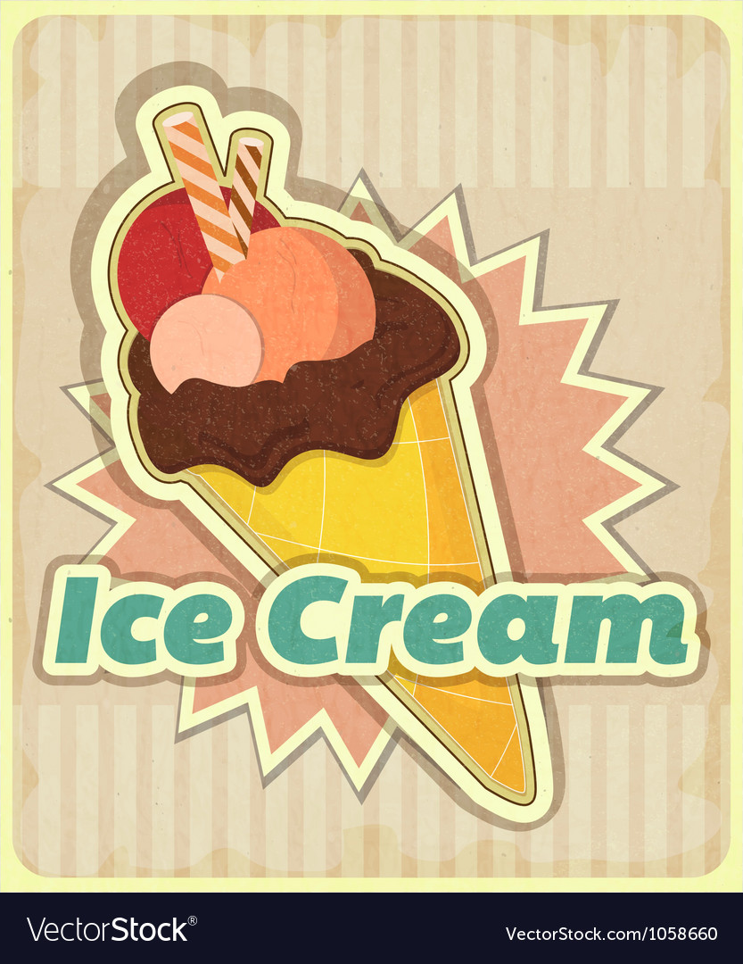 Ice cream on retro background vector
