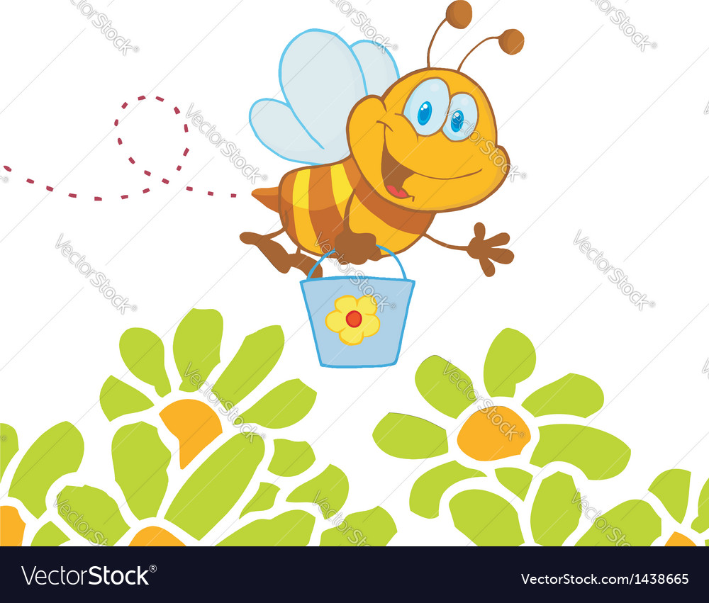 cartoon character bee flying bucket in the flowers vector by hittoon