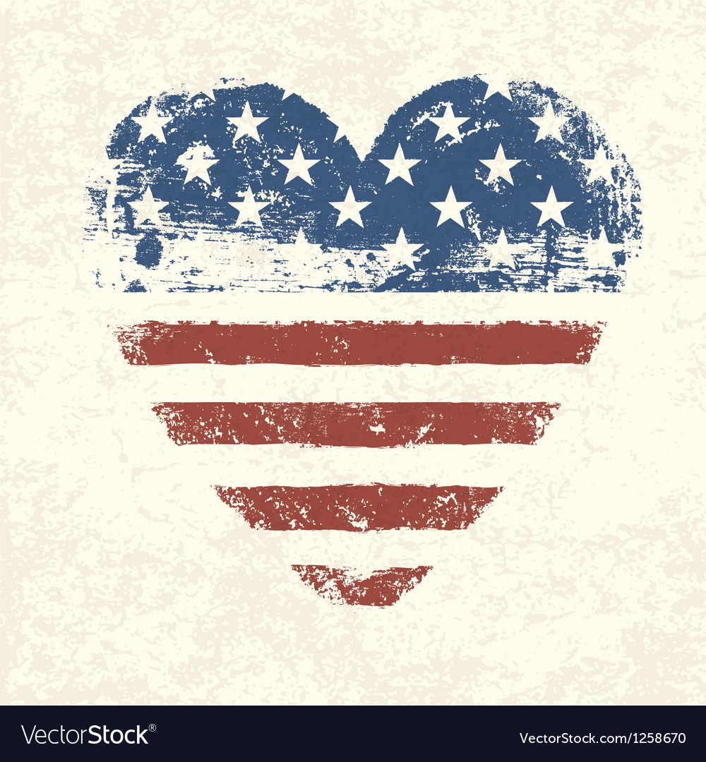 Heart shaped american flag vector