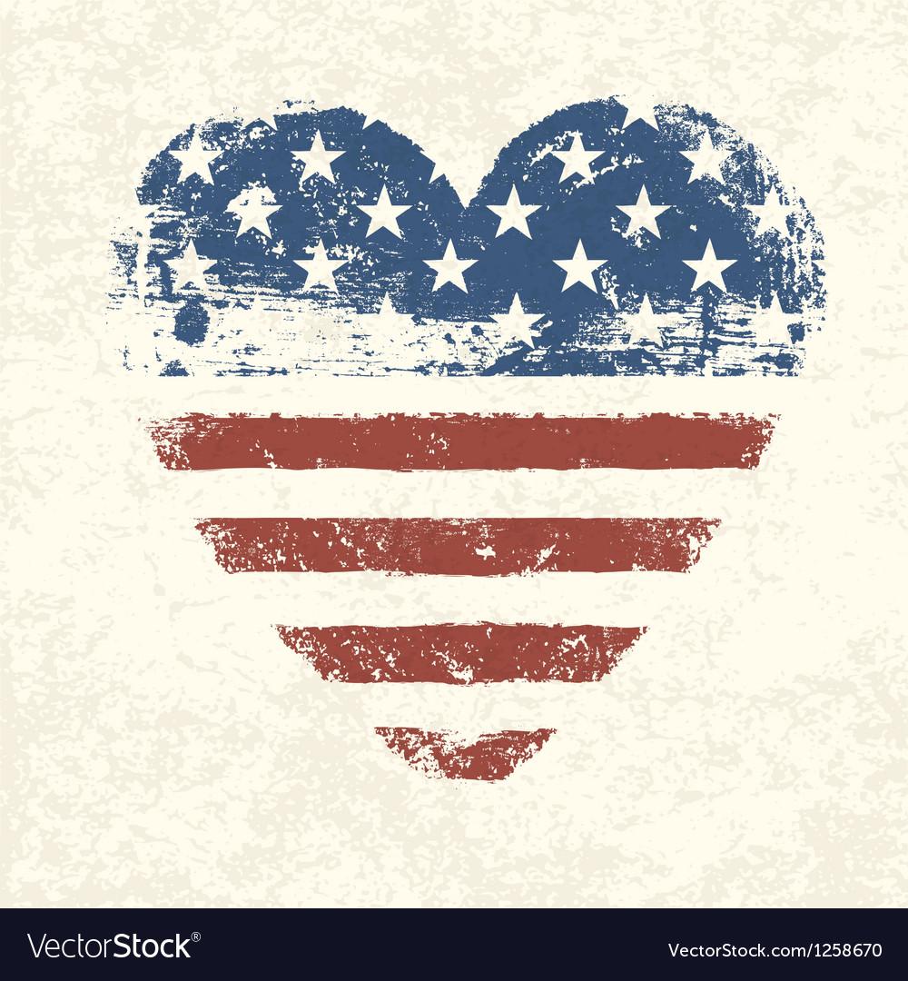 Heart shaped american flag vector