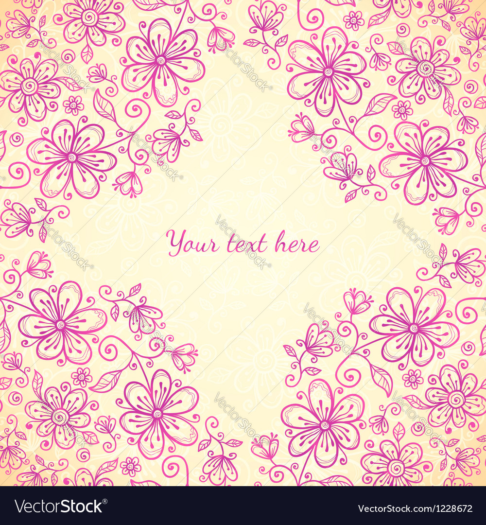 Pink doodle vintage flowers background vector