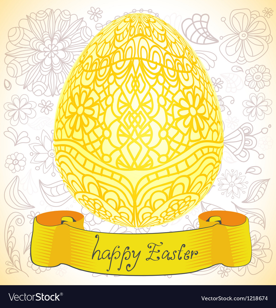 Happy easter gold egg vector
