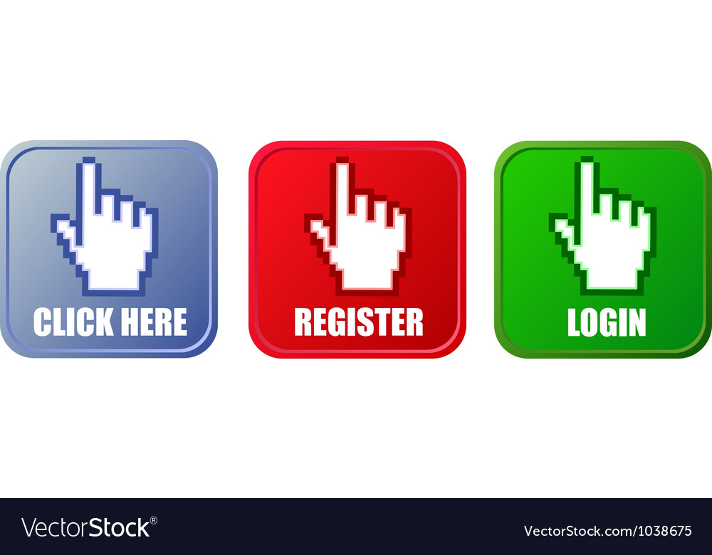 Buttons  click here register and login vector