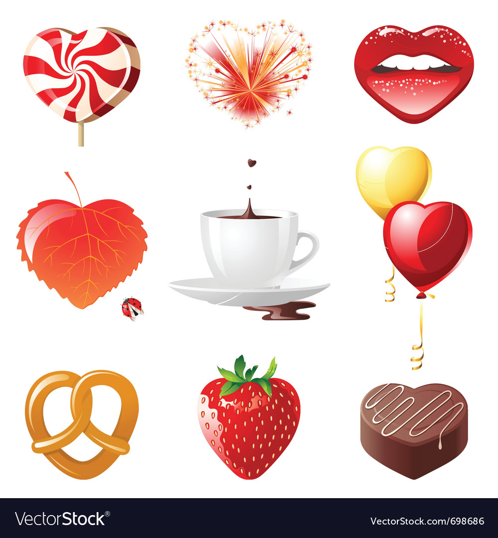 Set of 9 concept hearts - vector