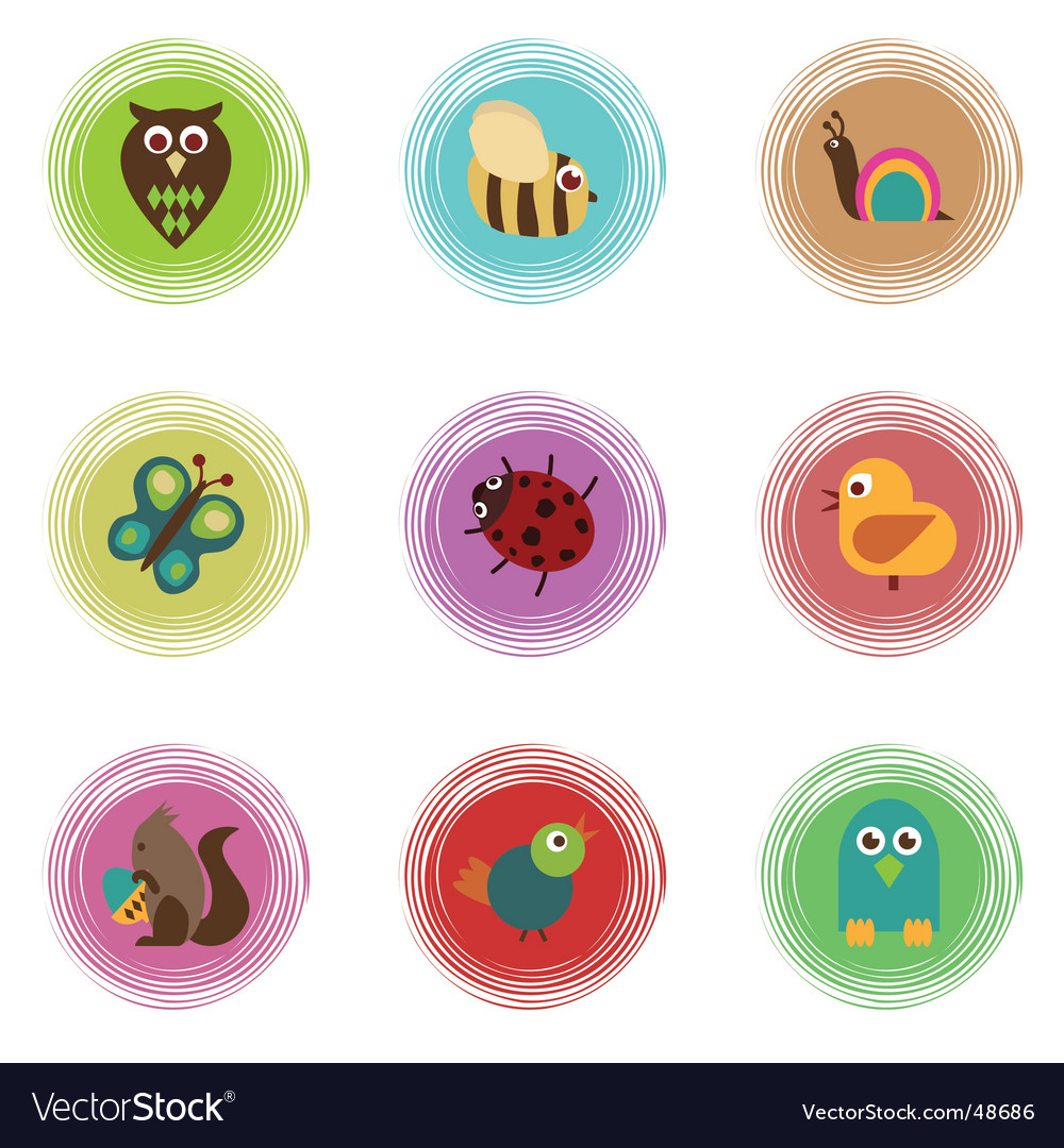 Wildlife icons vector