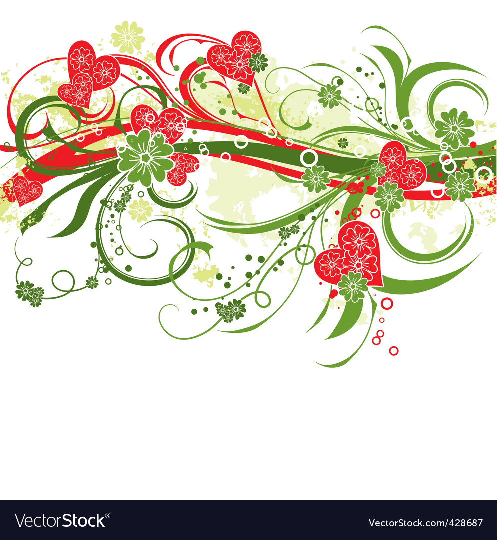 Valentines floral grunge background  vector