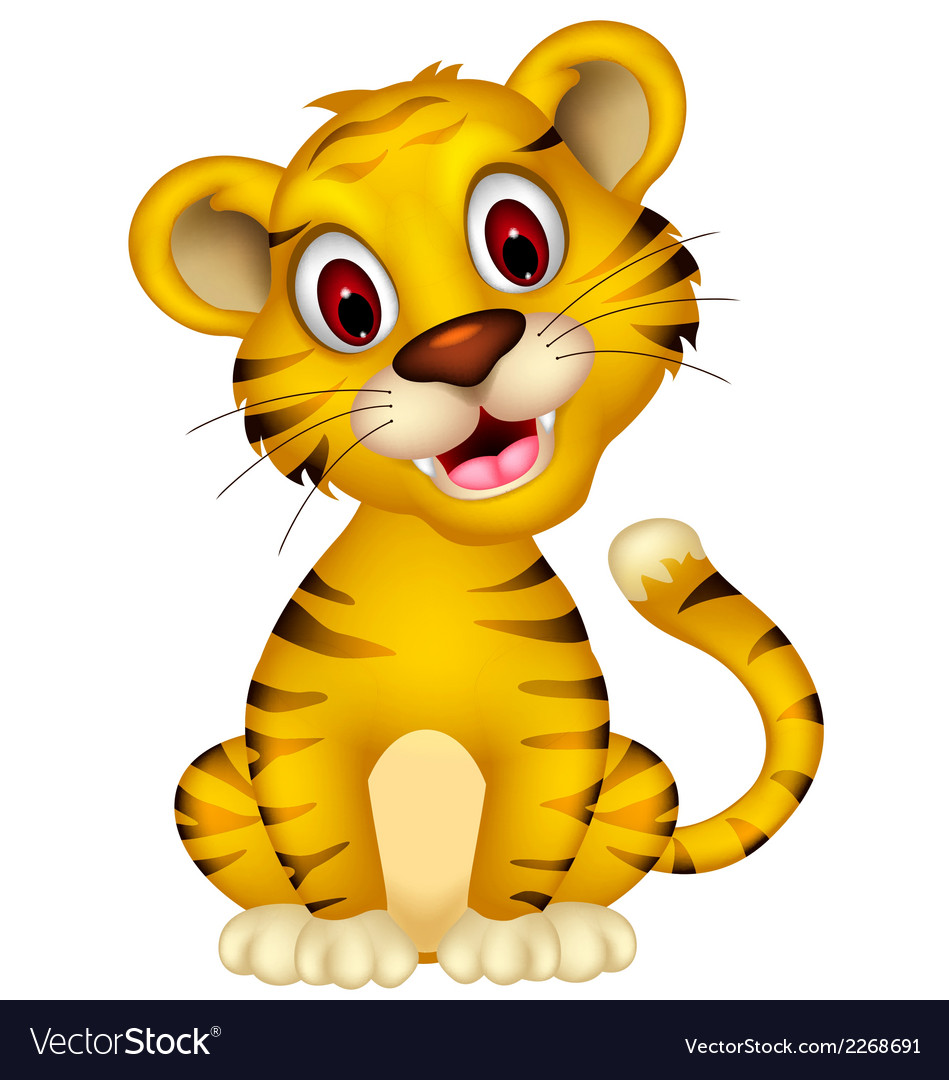 Cute baby tiger sitting vector