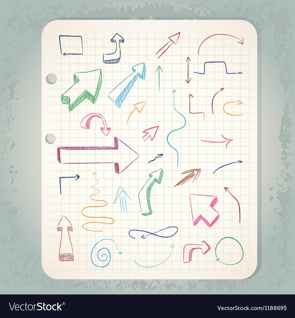 Arrows on vintage notepad vector