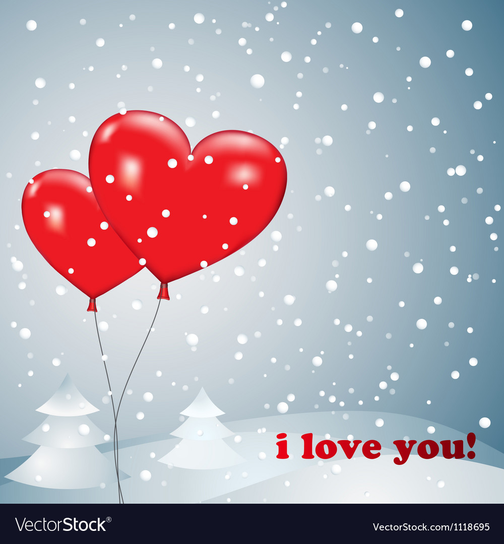 Free balloons heart with snow vector