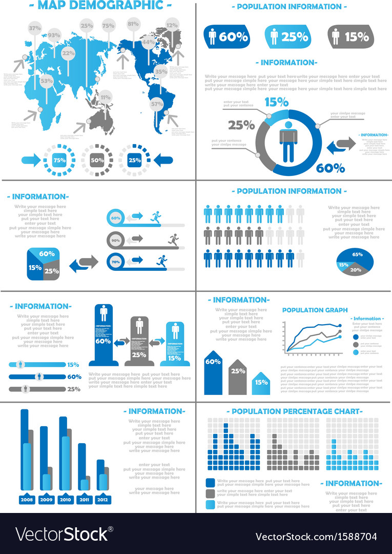 Infographic demographics population 3 blue vector