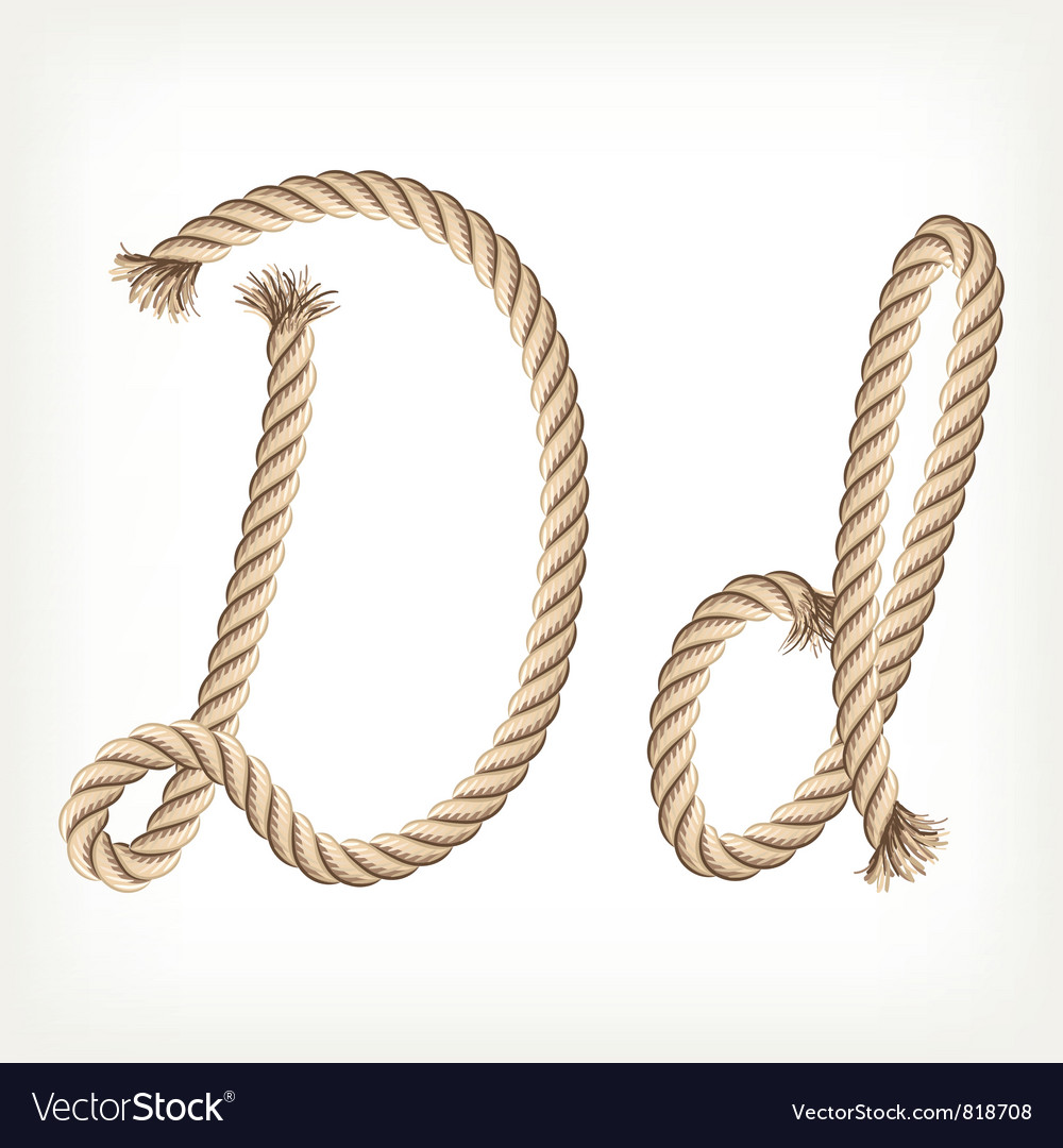 Rope alphabet letter d vector