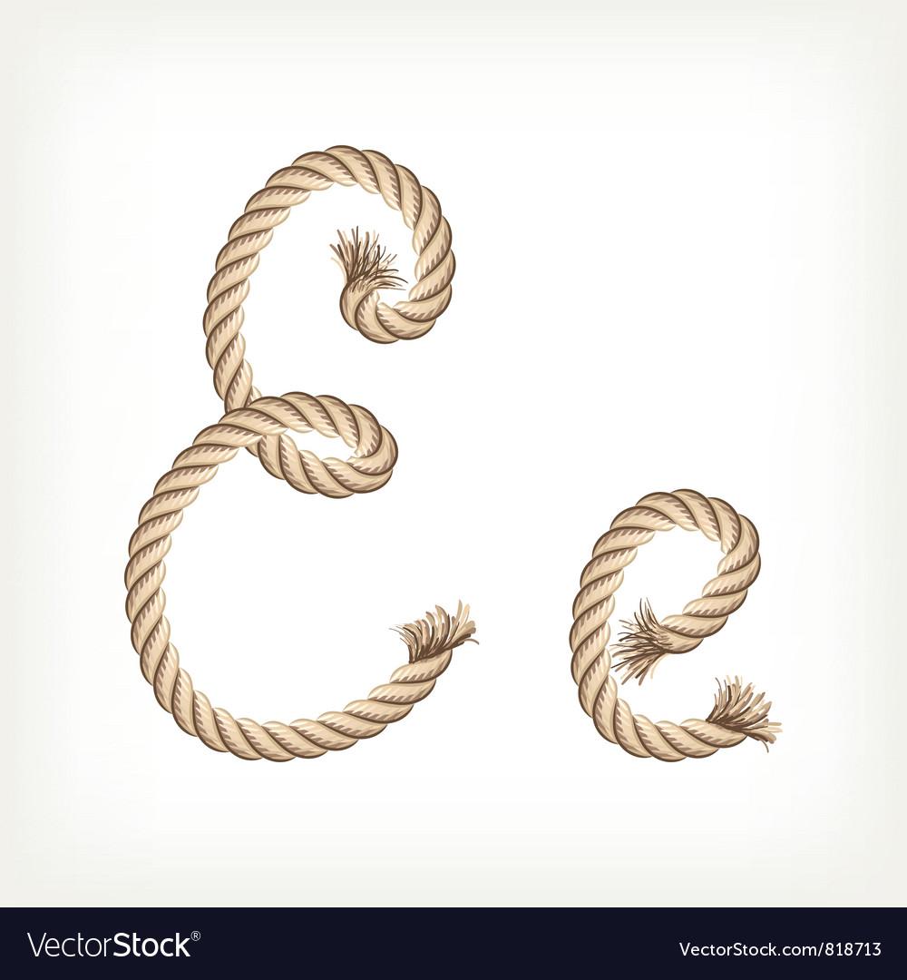 Rope alphabet letter e vector