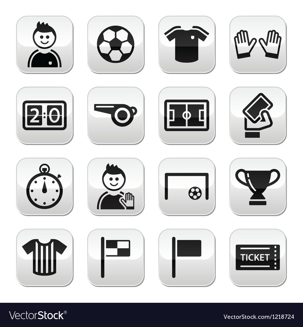 Football buttons set vector